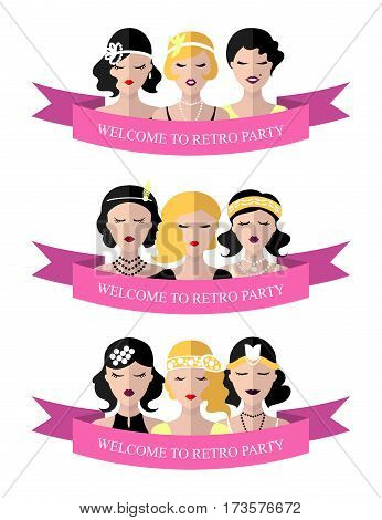 Vector set of invitation template to the retro party with flapper girls in flat style