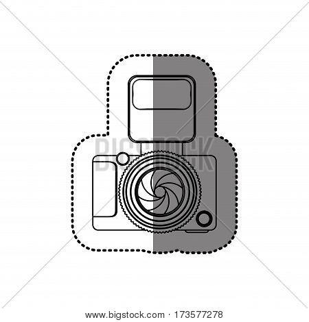 sticker monochrome contour of analog camera with flash light vector illustration