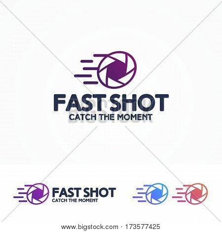 Photography logo set with aperture and sign fast shot for use photostudio, photoschool, photolaboratory, food photo, wedding and etc. Vector Illustration