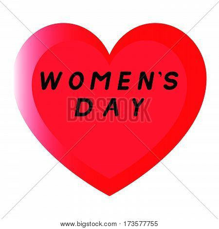 Red Heart For Womens Day With Two Path And A Black Fill Caption.
