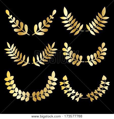 Vector set of golden design floral laurels isolated on black background