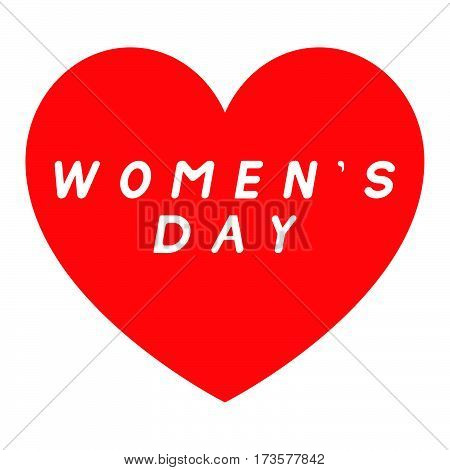 Red Heart For Womens Day With White Fill Caption.
