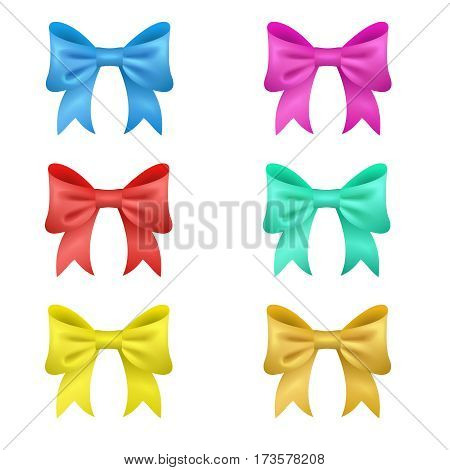Set of 6 colored vector bows. holiday decorations. eps 10