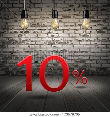 Discount 10 Percent Off With Text Special Offer Your Discount In Interior With White Brick Wall And