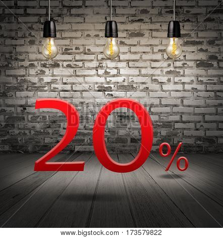 Discount 20 Percent Off With Text Special Offer Your Discount In Interior With White Brick Wall And