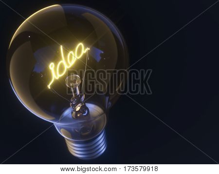 3D illustration. Lamp with filament in the form of the word idea.