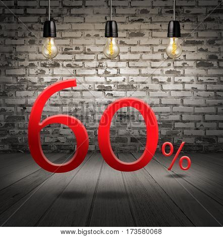 Discount 60 Percent Off With Text Special Offer Your Discount In Interior With White Brick Wall And