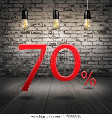 Discount 70 Percent Off With Text Special Offer Your Discount In Interior With White Brick Wall And