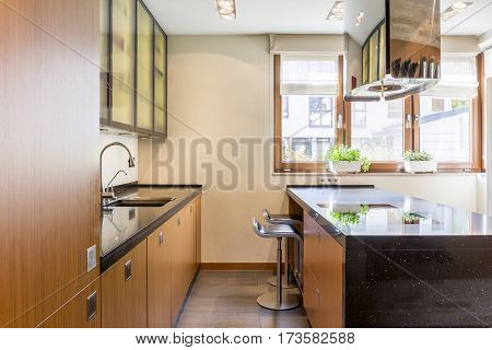 Marble And Wooden Kitchen