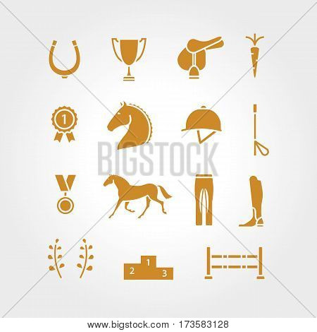 Horse equipment icon set thin line. Color in circle logo, logotype. Gold sign, symbol. Horseshoe, winner, horse, saddle, equestrian icon. Equestrian horse logotype.