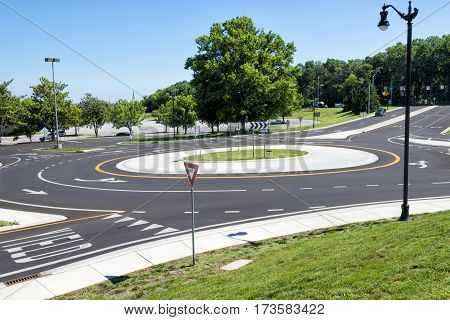 Horizontal shot of a Traffic Roundabout Intersection.