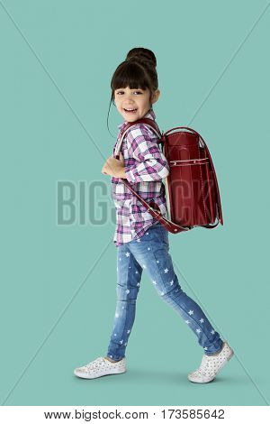 Happiness girl with school backpack