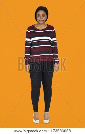 African Woman Smiling Standing Studio