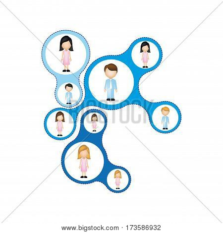 color schematic figure with faceless working group vector illustration