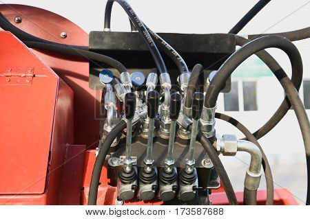 hydraulic wire on agricultural machineries close up