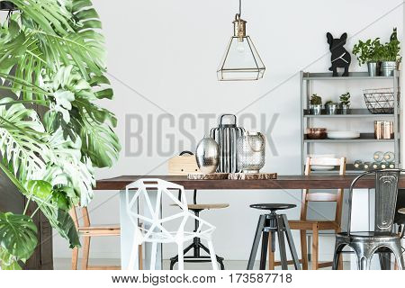Room With Wood Communal Table