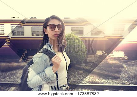 Woman traveler with the train for traveling