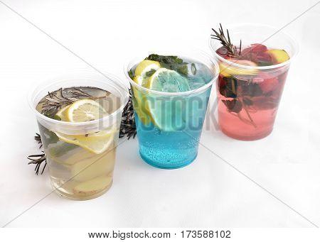 three fresh drink on a white background