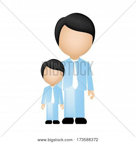 color silhouette faceless with father and son in formal clothes vector illustration