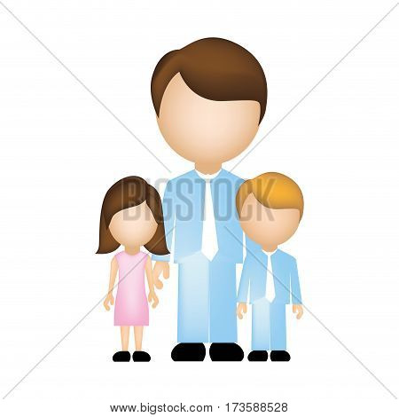 color silhouette faceless with father and children in formal clothes vector illustration