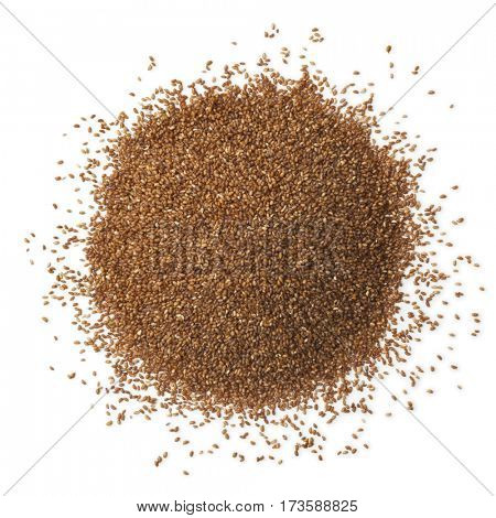 Heap of teff seeds on white background