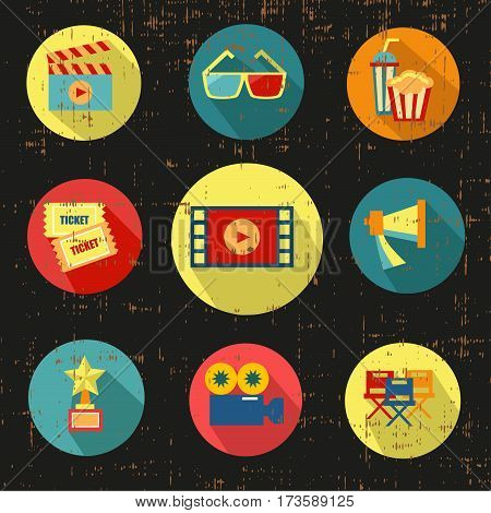 Movie icon set, black version, grunge vector stock illustration