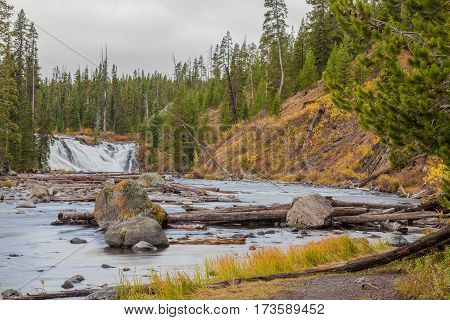 scenic Lewis river falls in yellowstone national park