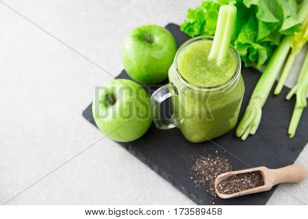 Blended Green Smoothie With Ingredients. Superfood, Detox And Healthy Concept. Selective Focus