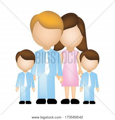color silhouette faceless with dad mom and two male sons in formal clothes vector illustration