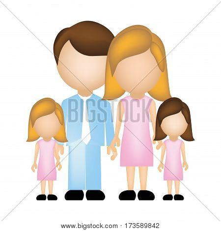 color silhouette faceless with dad mom and two female daughters in formal clothes vector illustration