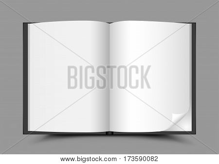 The open black book with shadow on gray background. Clear white sheets of paper. Writer template
