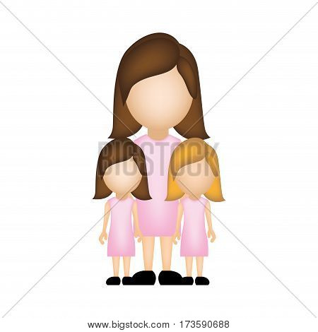 color silhouette faceless with mother and daughters in formal clothes vector illustration