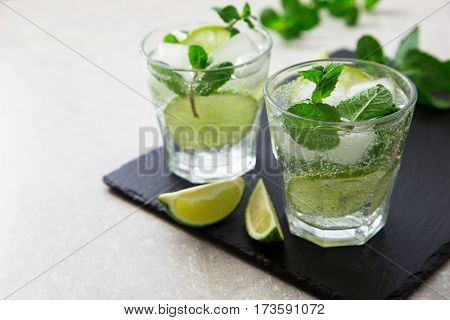 Cold Refreshing Summer Lemonade Mojito In A Glass On A Slate Board And Stone Background.