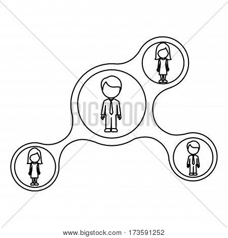 monochrome contour schematic with dad and sons faceless vector illustration