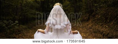 Panorama photo of the bride from the back wedding dress on a girl the bride in the forest the princess in the forest wedding gown from the back on woman panorama