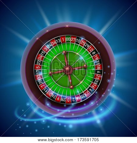 Realistic casino gambling roulette wheel. Cover background. Vector illustration