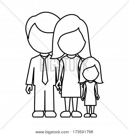 monochrome contour faceless with dad mom and daughter in formal clothes vector illustration