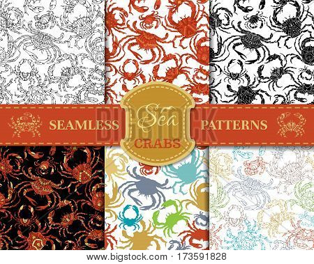 Vector Set Of Seamless Crabs Patterns.