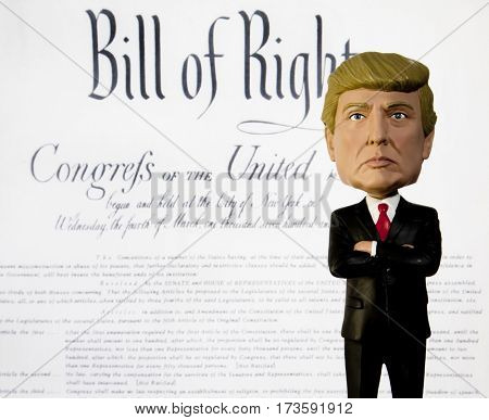 Donald Trump Bobble Head figure standing in front of the Bill of Rights and the Amendments to the US Constitution