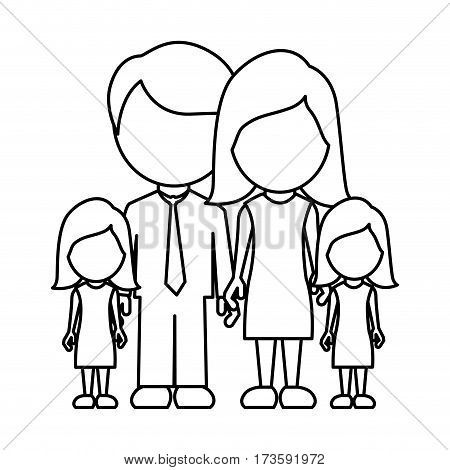 monochrome contour faceless with dad mom and two female daughters in formal clothes vector illustration
