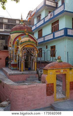 MANDI, INDIA. 4 Jun 2009: an Ancient Hindu temple  in Northern India . Mandi, Himachal Pradesh, India