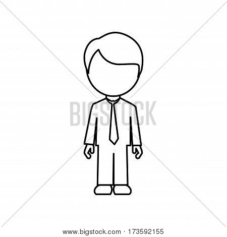 monochrome contour faceless with dad in formal clothes vector illustration