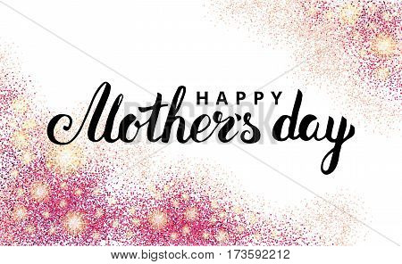 Happy mother day pink glitter background. Sparkles design in frame, border for greeting card, flyer poster, sign, banner, web header. Abstract sparkle texture for mothers day. Red Light blur sequin.
