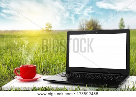Laptop and cup of hot coffee with blank screen on the background picturesque nature, outdoor office. Travel concept. Business ideas. Choice of travel. Copy space. Online store.