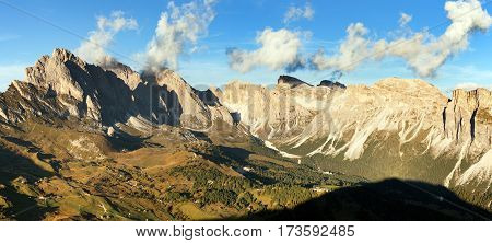 Evening panoramic view of Geislergruppe or Gruppo delle Odle Dolomiti Italy