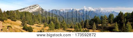 Panoramic view from Alps Dolomites mountains Italy