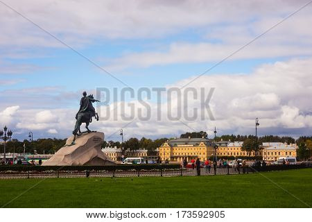 Saint-Petersburg Russia - September 17 2016: Senate Square and Bronze Horseman - monument to Peter I in St. Petersburg