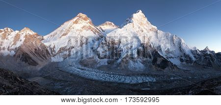 nightly view of Mount Everest Lhotse and Nuptse from mount Pumo Ri base camp - Sagarmatha national park Khumbu valley Nepal