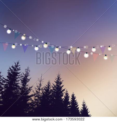Birthday garden party or Brazilian june party, Festa junina card, invitation. Vector illustration with string of lights, party flags, silhouettes of trees, sunset background.