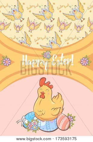 Cartoon Happy Easter festive card with inscription cheerful chicken sitting on ornate eggs and singing birds pattern vector illustration